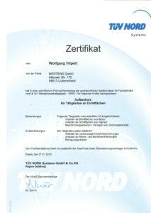"""Zertifikat """"Aufbaukurs für Tätigkeiten an Dichtflächen"""""""