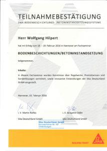 """Teilnahmebestätigung Fachseminar """"Bodenbeschichtungen / Betoninstandsetzung"""""""