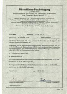 Düsenführer-Bescheinigung