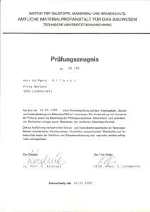 """Prüfungszeugnis """"Schutz und Instandsetung von Betonflächen"""""""