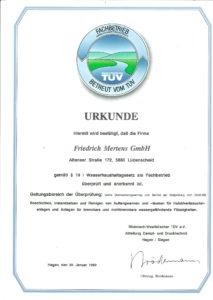 "Urkunde TüV ""Fachbetrieb WHG"""
